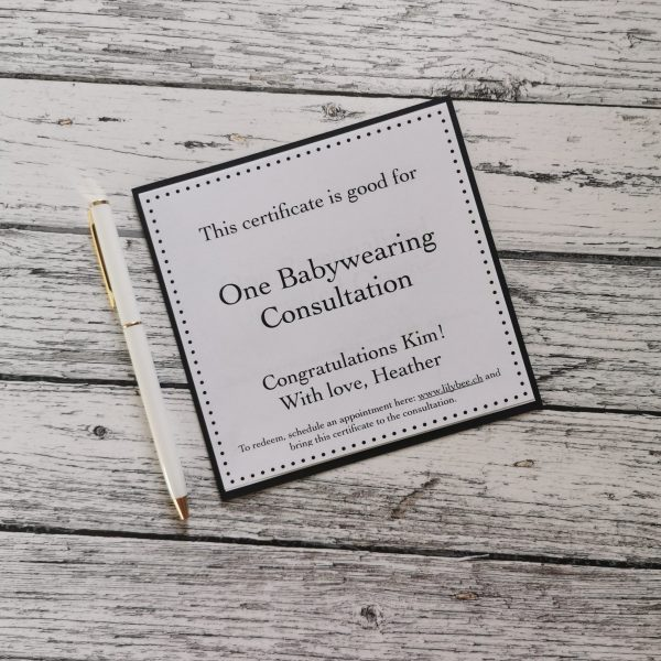 Gift Certificate back side Babywearing