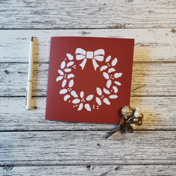 Wreath Christmas Card - Two Color